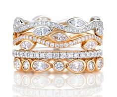 Romantic Bloom - De Beers stackable rings - this is how to do mixed metals!