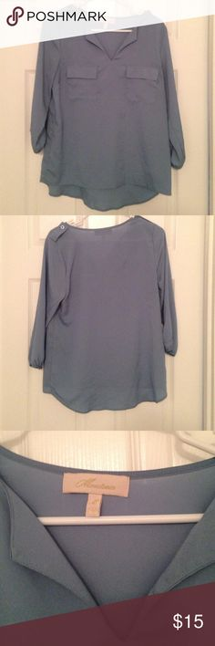 Light blue Monteau blouse size M A pale blue 3/4 sleeve polyester Monteau blouse size M, only worn once. Perfect for fall with dark skinny jeans and booties. Monteau Tops Blouses