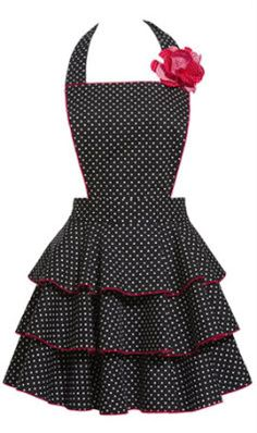 Black Petite Dot Apron...I should cook more so I can have cute shit like this! Lol