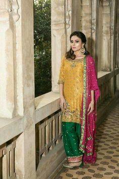 See colour combinations Whatsapp me on 00923064010486 Pakistani Mehndi Dress, Pakistani Formal Dresses, Pakistani Wedding Outfits, Pakistani Couture, Pakistani Wedding Dresses, Pakistani Dress Design, Indian Dresses, Pakistani Clothing, Desi Wedding Dresses