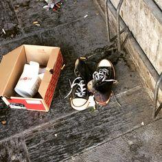 Et par forlatte converse ved Nybrua. Med en skoeske som har vært hjemmet til et par nye sko.