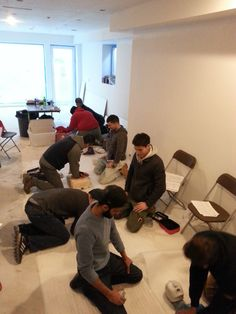 Workers practice CPR and other first aid skills during an Occupational First Aid class at their workplace.  Contact us to arrange a private course: office@link2life.ca