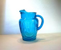 Vintage Azure Blue Pitcher Anchor Hocking Tulip Pitcher Heavy Glass with Ice Lip
