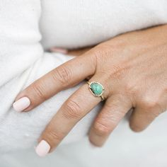 Amorphous Rose Cut Emerald With Hammered Halo and Hammered Band Organic Engagement Rings, Green Engagement Rings, Emerald Band, Unique Roses, Gold Hands, Little White, Soft Suede, Halo, Silver Rings