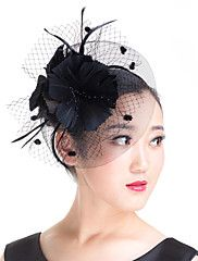 Lady Polyester Feather Flowers Birdcage Veil Bridal Fascinators Wedding Hat White/Black/Red – USD $ 24.00