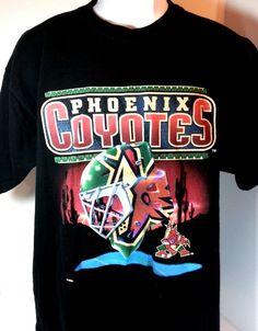 bde68ed2b 90s Pro Player  NHL  HOCKEY  PHOENIXCOYOTES Black Helmet LOGO VINTAGE T  SHIRT XL  ProPlayer  GraphicTee