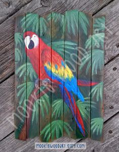 Tropical Parrot hand painted on reclaimed wood painted Pallet Painting, Pallet Art, Painting On Wood, Wood Canvas, Wood Art, Canvas Art, Old Wood Table, Tropical Art, Tropical Birds