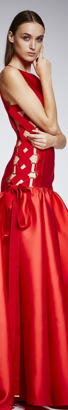 Zuhair Murad Spring 2016 RTW red dress women fashion outfit clothing style apparel @roressclothes closet ideas