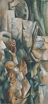 """Georges Braque painted """"Violin and Palette"""" in September 1909. It is oil on canvas and is 36 1/16 x 16 13/16 in.  In this painting we see specific parts of a violin that are meant to represent the whole instrument seen from various points of view which is a perfect example of Analytic Cubism."""