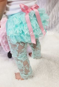 Aqua Lace Diaper Cover Pink Satin rolled bow by KutieTuties, $13.95