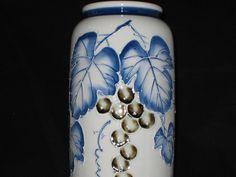 ON SALE Tall Vase/Georgeous Grape Vine Pattern Tall Vase/Vintage Blue and White Vase/Large Tall Vase by iLikeEclectic on Etsy
