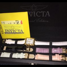 Invicta watch set SPECIAL EDITION 5 interchangeable bands: white, black, purple, pink & gray. SPECIAL EDITION Invicta Jewelry