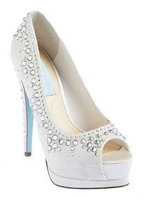 """A sparkling shoe is the perfect way to spice up any ensemble!  Features Ivory satin lace with shimmering stone detail.  Synthetic lining.  Heel Height: 3.5"""" heel. 2"""" platform.  Imported."""