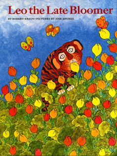 "Have you read this sweet book?Leo the Late Bloomer is all about a tiger that can't read or write like all his friends. It takes him awhile to ""bloom"". We have been talking about seeds and plants so this is a great way to talk about figure of speech and also to allow the students to talk about what"