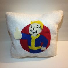 A personal favorite from my Etsy shop https://www.etsy.com/listing/271220501/fallout-4-vault-boy-fluffy-white-pillow