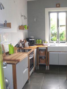 bloc kitchen beech wood painted green wood modulk chen. Black Bedroom Furniture Sets. Home Design Ideas
