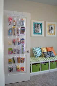 Interior Design:The 5 Best Playroom Organizing Tools Sunlit Spaces Cheerful Kids Playroom Ideas In Colourful Decoration Door Storage, Kid Book Storage, Bench Storage, Kids Storage, Creative Storage, Playroom Storage, Storage Ideas, Storage Design, Storage Units