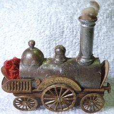 Antique Dresden Candy Container Christmas Ornament- Train **Superb Piece** | eBay