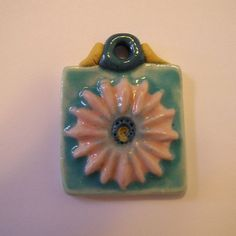 Square Porcelain Pendant Raised Pink Flower by PorcelainJazz on Etsy.