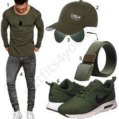 Grüner Herren-Style mit Longsleeve, Nike's und Cap #nike #longsleeve #jeans #amacisons #frühling #outfit #style #herrenmode #männermode #fashion #menswear #herren #männer #mode #menstyle #mensfashion #menswear #inspiration #cloth #ootd #herrenoutfit #männeroutfit