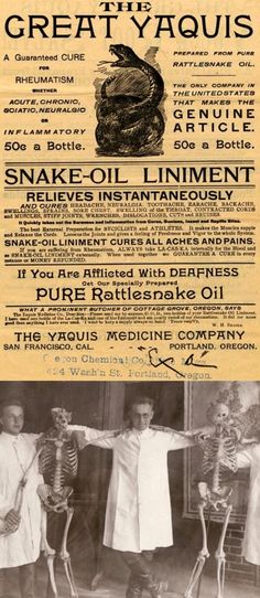 A Snake Oil Liniment Bottle I believe what they called snake oil back then was actually cocaine
