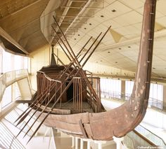 One of several cedarwood boats buried close to the Great Pyramid of Khufu.  They may have been used during Khufu's funeral, or intended as solar boats to transport the king in the afterlife.