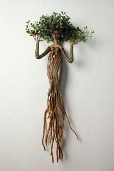 für den Garten im Freien - Jardin Miniature Idee - Best Pins Deco Nature, Driftwood Crafts, Tree Art, Clay Art, Garden Art, Garden Ideas, Art Dolls, Fantasy Art, Art Projects