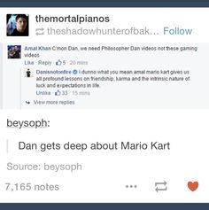 I didn't even know it was possible to get deep about MarioKart