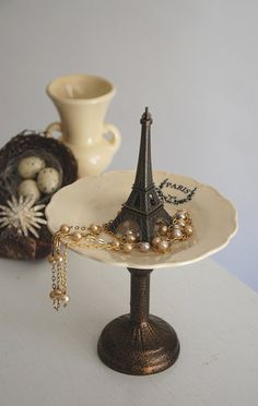 PARIS Jewelry Pedestal, Eiffel Tower Figurine Catch All, French Boudoir, Earring Holder, Retro Jewelry Stand, Haute Couture Jewelry Dish