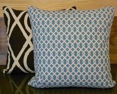 Turquoise and white lattice decorative pillow cover