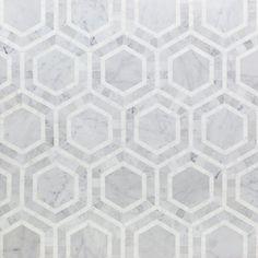 Shop 12 x 12 Nova Lynx Hexagons Polished Marble Tile in White Thassos + White Carrara at TileBar.com.