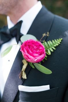 Hot pink groom boutonniere! Love this look.