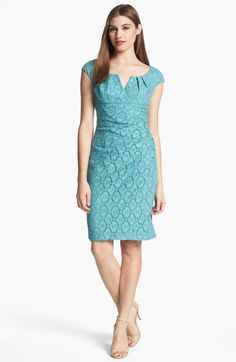 ADRIANNA PAPELL Blue Cap Sleeve Lace Sheath Dress A pleated notched neckline, cap sleeves and empire waist refine a trim pencil sheath overl...
