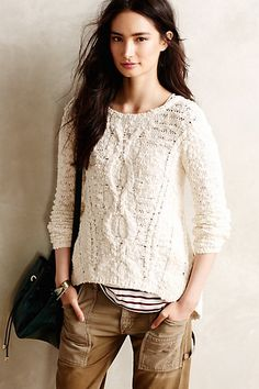 portland cabled pullover / anthropologie, looks so snug! Wear it with a brown jeans skirt or a corduroy skirt for modesty