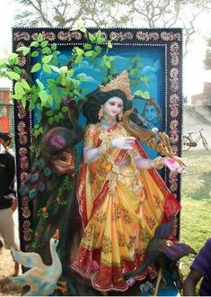 Saraswati Murti, Durga Ji, Saraswati Goddess, Kali Puja, Kali Hindu, Hindu Art, Manoj Kumar, Simple Portrait, Miniature Paintings