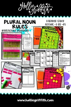 Teach students to use singular and plural nouns with this engaging hands-on resource. This bundle includes five days of mini lessons, anchor charts, class games with recording sheets, interactive notebook pages, task cards, and a quick assessment. This is a complete hands-on mini unit that will add fun and excitement to your classroom. #HollieGriffithTeaching #FirstGrade #KidsActivities