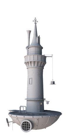 // The Lighthouse by Filippo Marras, via Behance Landscape Concept, Fantasy Landscape, New York Buildings, 3d Artwork, Art 3d, House Games, Game Ui Design, 3d Architecture, Modelos 3d