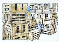 Urban Sketchers Buenos Aires: Cajones en el Mercado de Abasto de Beccar Watercolor Sketch, Watercolor Paintings, Watercolors, Moleskine, Drawing Sketches, Drawings, Coffee Painting, Urban Sketchers, Art Sketchbook