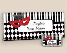 Masquerade Custom Candy Bars Sweet 16 Masquerade Party Favors