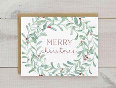 Christmas Card Set, Christmas Wreath Cards, Watercolor Christmas Cards, Floral Holiday Cards, Wreath Christmas Cards, Wreath Holiday Cards
