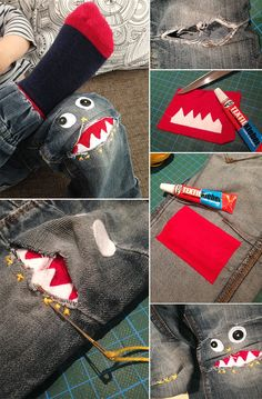Do it yourself: Hosenmonster aus kaputten Jeans nähen DIY: Dani from Gingered Things shows you how you can sew awesome pants monsters out of jealous JEans. Here's a tutorial. Sewing Projects For Beginners, Knitting Projects, Knitting Patterns, Sewing Patterns, Diy Projects, Clothes Patterns, Diy Jeans, Sewing For Kids, Diy For Kids
