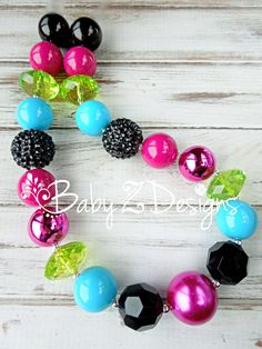 Fuschia Black Sky Blue and Green Chunky Necklace  by babyzdesigns Made to Match Persnickety Forget Me Not Collection (Secret Garden)