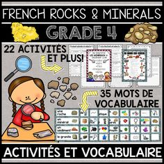 THIS UNIT IS PART OF A GROWING BUNDLE, WHICH WILL INCLUDE ALL FOUR GRADE 4 SCIENCE UNITS IN FRENCH. SAVE 20% WITH THE BUNDLE.  This file includes a Grade 4 French Science Unit for Rocks and Minerals (LES ROCHES ET LES MINÉRAUX). The unit includes 35 word wall labels and 22 activities.