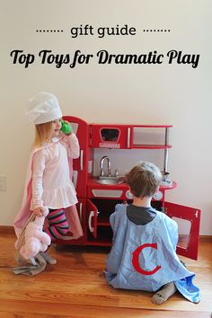 Dramatic play promotes literacy through vocabulary and story-telling practice as well as social skills such as empathy, turn taking, and the identification of emotions - great break down of recommended ages on the toys listed. Toddler Preschool, Toddler Activities, Activities For Kids, Preschool Learning, Teaching, Top Toys, Dramatic Play, Creative Play, Imaginative Play