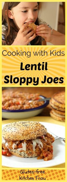 Lentil Sloppy Joes - easy meat-free meal. Rich & hearty, slightly sweet & tangy. Pile on buns, top with cheese. Fun Cooking-with-kids project. Gluten-free.