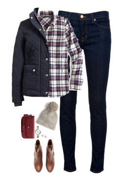 """""""Red & Navy"""" by steffiestaffie ❤ liked on Polyvore featuring J Brand, J.Crew, H&M, Coach, FOSSIL and Majorica"""