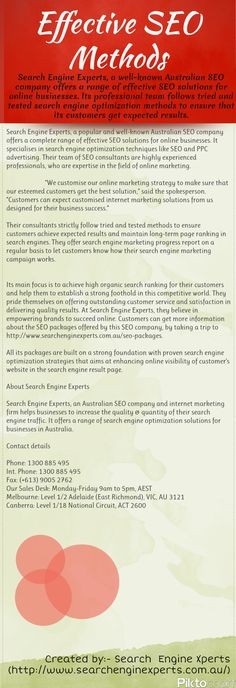 Search Engine Experts, a well-known Australian SEO company (http://www.searchenginexperts.com.au/seo-company) offers a range of effective SEO solutions for online businesses. Its professional team follows tried and tested search engine optimization methods to ensure that its customers get expected results. To learn more about this company, kindly visit http://www.searchenginexperts.com.au.