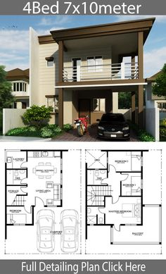 Home Design Plan With 4 Bedrooms. House description:One Car Parking and gardenGround Level: Living room, Dining room, Kitchen, One bedroom, 4 Bedroom House Designs, 4 Bedroom House Plans, Dream House Plans, Simple House Design, House Front Design, Modern House Design, Duplex House Design, Door Design, Two Storey House Plans