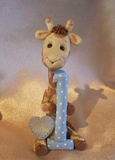 giraffe birthday cake topper decoration Christmas by clayqts, $25.95