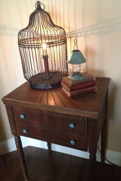 Repurpose  sewing table as end table.....love the blue and brown, would totally match my furniture.